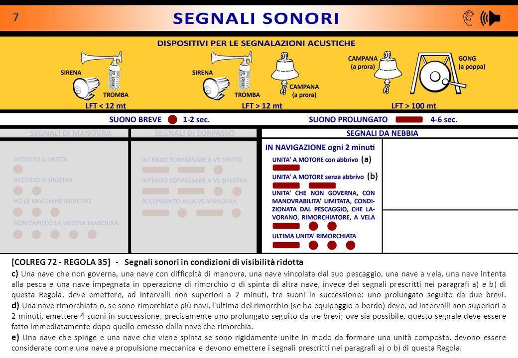 7 (a) (b) [COLREG 72 - REGOLA 35] - Segnali sonori in condizioni di visibilità ridotta.